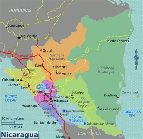 nicaragua on a map nicaragua wikitravel