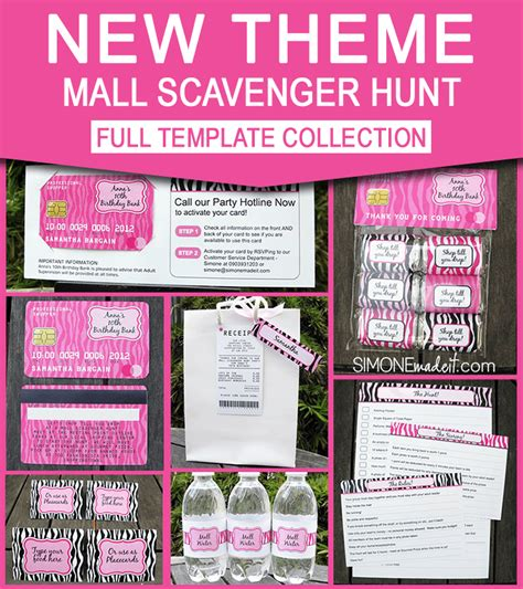 Mall Scavenger Hunt Invitation Template mall scavenger hunt invitations birthday decorations