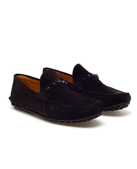 black loafers for valentino studded suede loafers in black for lyst