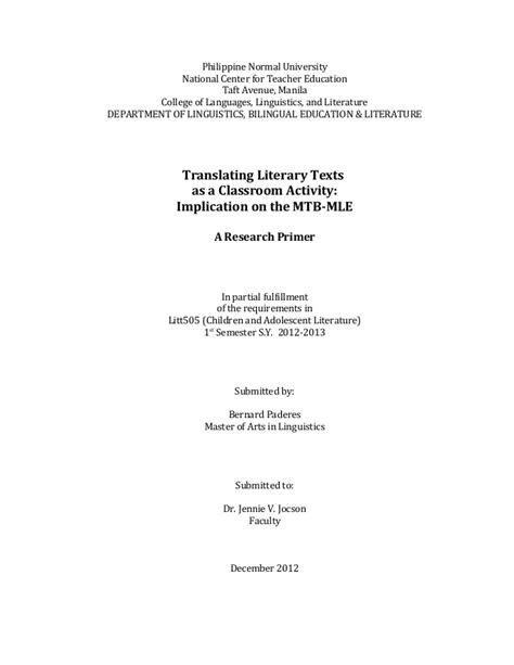 thesis about mother tongue based education litt 516 translating children s literature as a class