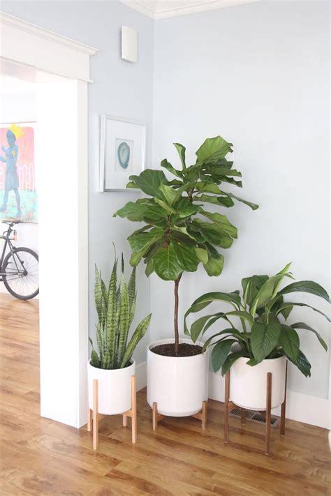 large mid century modern planter  plant stand