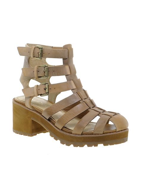 aldo brown sandals aldo morainn gladiator heeled sandals in brown lyst