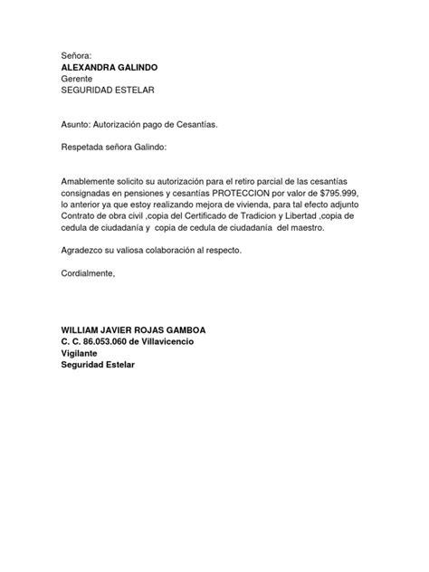 carta de autorizacion de retiro de cesantias carta retiro de cesantias