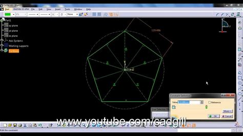 autocad tutorial nptel drawing pentagon in catia