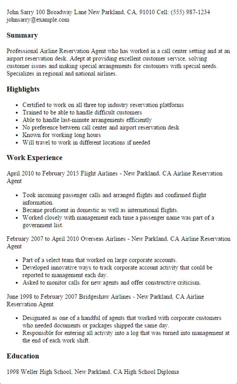 Airline Reservation Sle Resume by Professional Airline Reservation Templates To Showcase Your Talent Myperfectresume