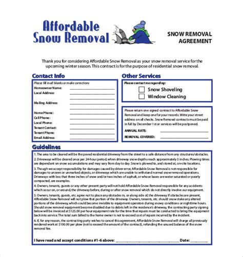 Snow Plow Residential Snow Removal Contract Template