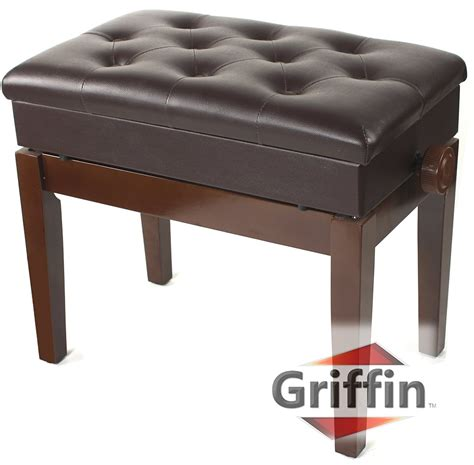 heavy duty piano bench adjustable piano brown leather bench by griffin vintage