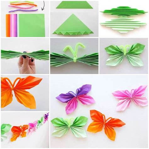 Paper Butterflies How To Make - diy easy folded paper butterflies