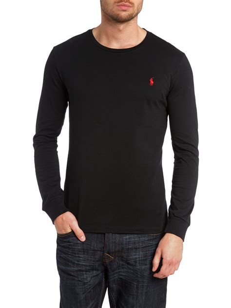 Kaos Polos Longsleeve Cotton Combed 30s Black polo ralph crew neck combed jersey sleeve tshirt in black for lyst