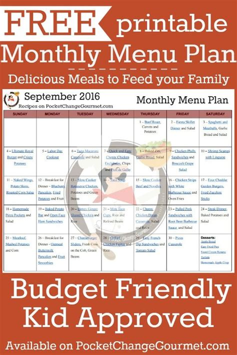 printable budget recipes monthly menu delicious meals and your family on pinterest