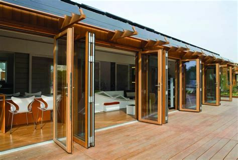 Garage Door Design wood folding glass wall system by nana wall systems