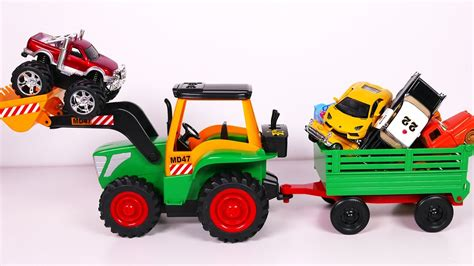 large toys big tractor playset for with many vehicles toys for children