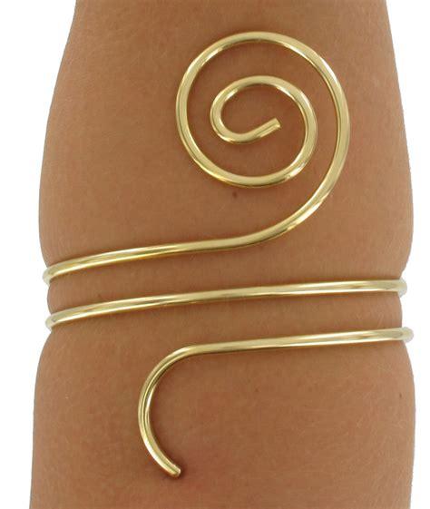 spiral gold tone arm cuff bracelet scroll ebay