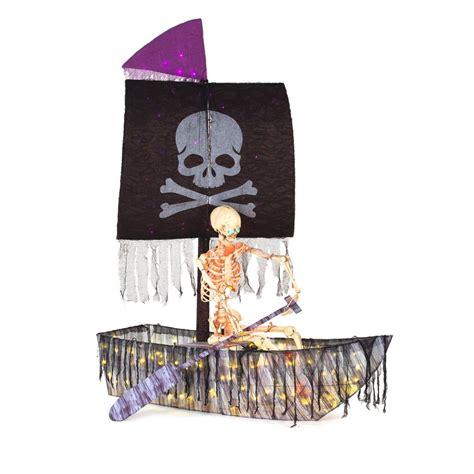 pre lit led pirate ship  skeleton halloween
