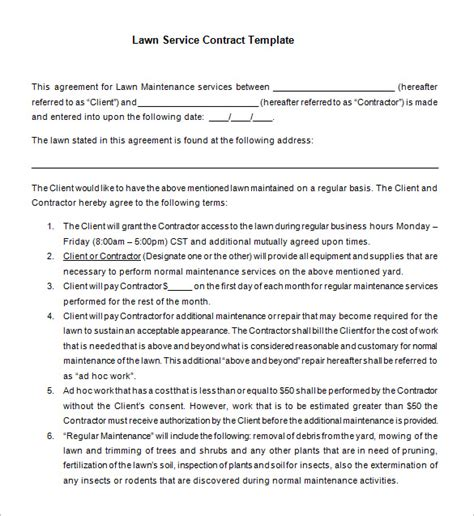 7 Lawn Service Contract Templates Free Word Pdf Documents Download Free Premium Templates Lawn Care Service Contract Template
