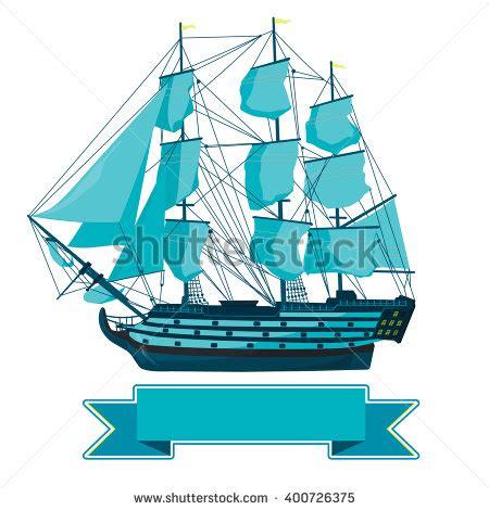 old boat vector big old wooden historical sailing boat stock vector