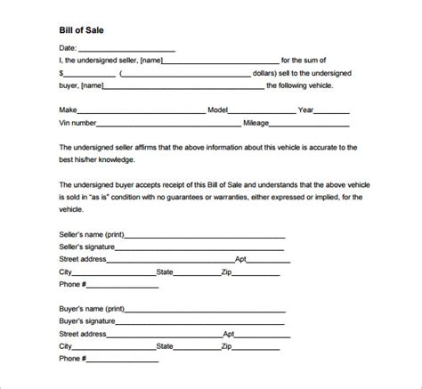 bill of sale template pdf auto bill of sale 8 free word excel pdf format
