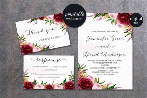 wedding invitation description floral wedding invitation marsala wedding invitation pink