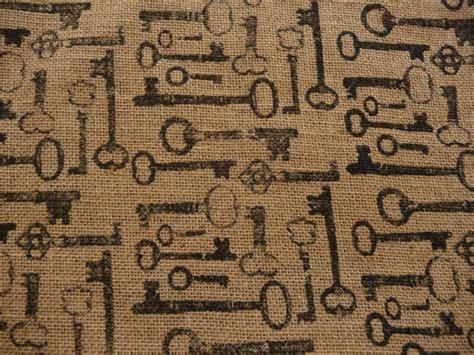 key pattern fabric skeleton key burlap fabric antique keys design