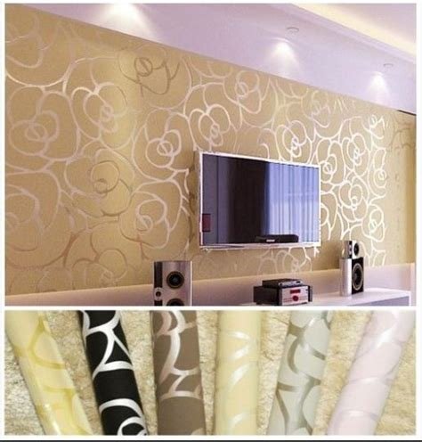 gold wallpaper living room background wall modern velvet wallpaper gold roses for living room classic wall paper home decor