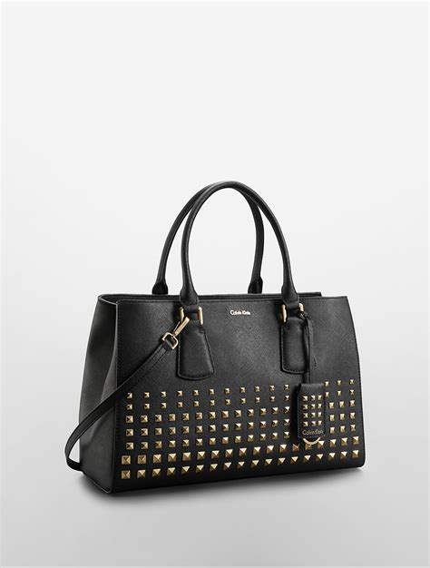 Kate Moss Studded Pouch Bag by Lyst Calvin Klein Kate Saffiano Leather Studded Tote Bag