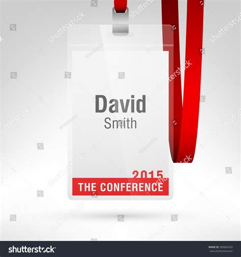 conference id card template conference badge name tag placeholder blank stock vector