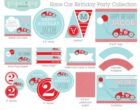 printable birthday supplies race car birthday party decorations invitation by