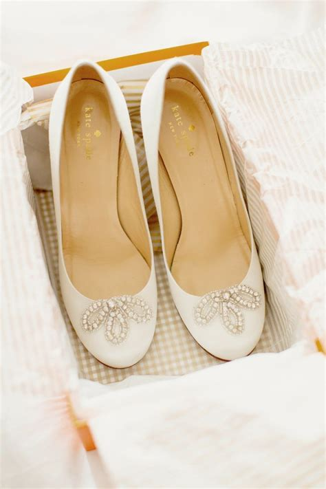 kate spade white heels jewell accents wedding shoes