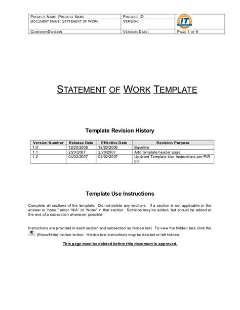 statement of work template free statement of work template