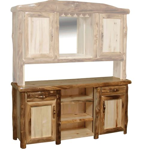 bar hutch aspen log bar buffet hutch rustic log furniture of utah