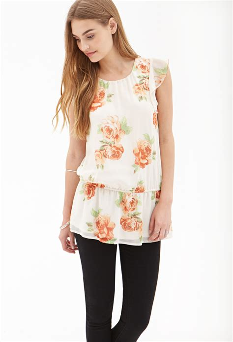 Hm Chiffon Sleeveless Blouse White Small Floral h m chiffon blouse review blue denim blouses