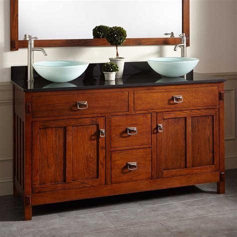 oak bathroom vanities 60 quot harington oak double vessel sink vanity wood vanities bathroom vanities bathroom