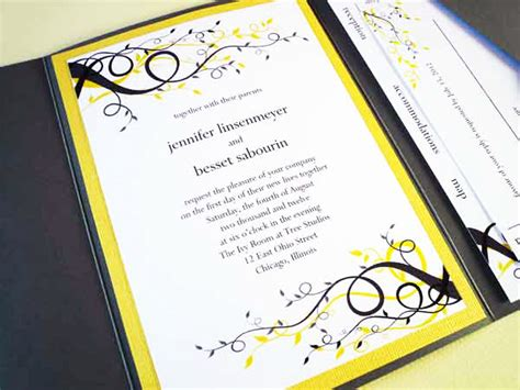 Wedding Invitation Yellow And Gray by Yellow Gray Wedding Invitation Starglow Studios