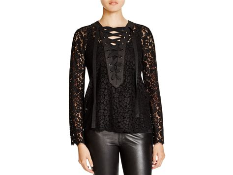 Mine Black Rosey Blouse lyst endless lace up lace blouse in black