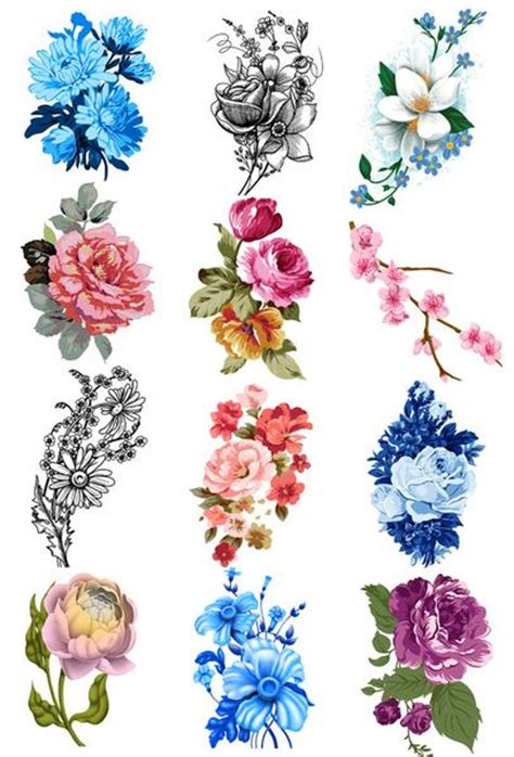 vintage flower tattoo designs vintage floral temporary set tatt me temporary