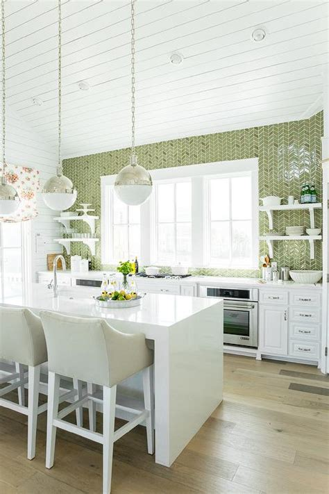 green white kitchen green herringbone tiles backsplash by ann sacks