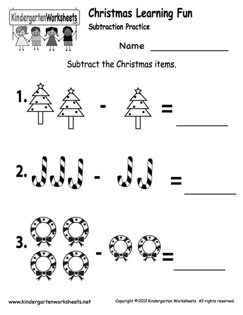 free printable holiday activity sheets kindergarten worksheets printable subtraction