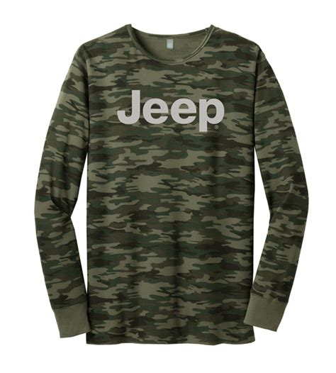 light gray jeep all things jeep sleeve green camo thermal with