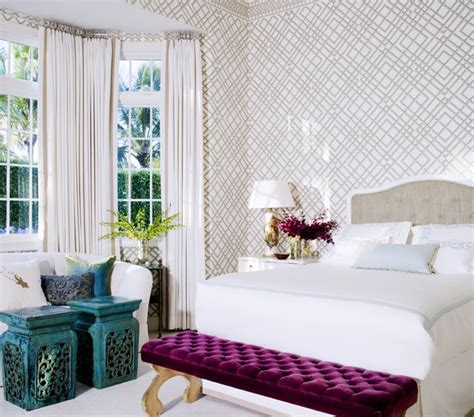 wallpaper designs for bedrooms home design inspiration trend cool magenta bench transitional bedroom kemble interiors