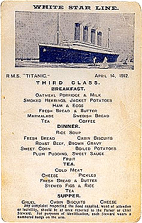 titanic second class menu titanic dining