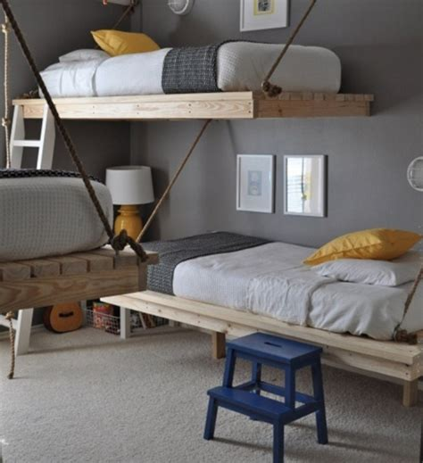 Diy Boys Bedroom Ideas Practical Stylish Space Saving Bedroom Design Ideas For Three Boys With Diy Hanging Beds