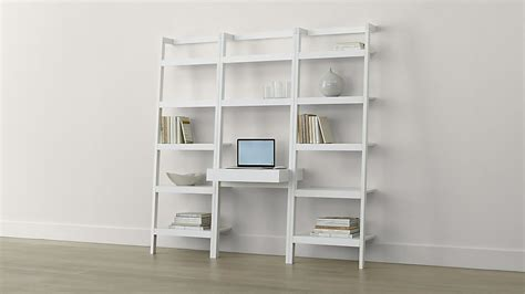 Leaning Bookcase And Desk by Sawyer White Leaning Desk With Two 24 5 Quot Bookcases Crate