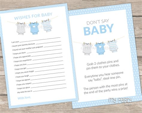 blue themed games blue baby shower bodysuit theme printable don t say baby