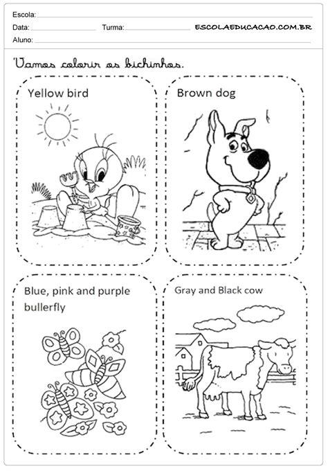 Atividade de inglês para colorir de bichos - Escola Educação
