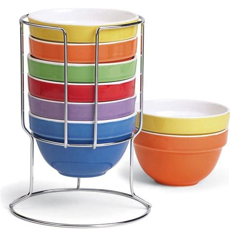 cereal bowls rainbow stackable multi colored nesting bowl