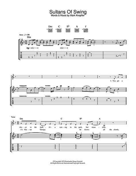 sultans of swing guitar tab sultans of swing guitar tab by dire straits guitar tab