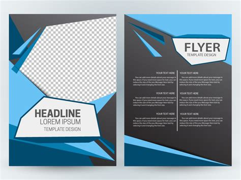 Flyer Template Design With Modern Abstract Checkered Dark Background Free Vector In Adobe Graphic Flyer Templates Free
