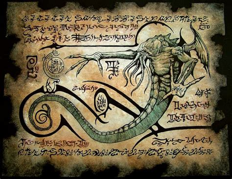 libro the art of horror cthulhu larp rlyeh text necronomicon page scroll magick occult