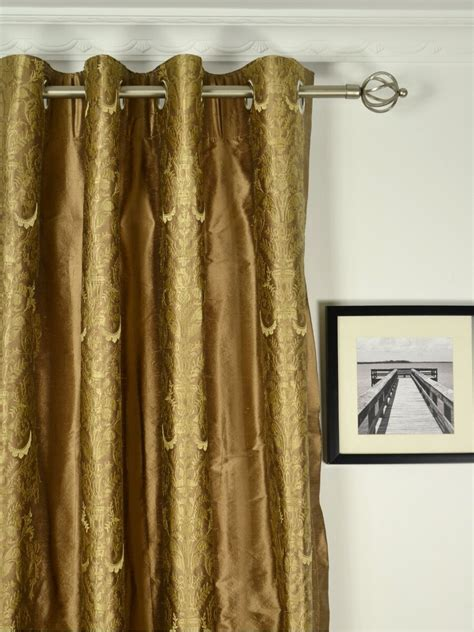 Dupioni Silk Curtains Rainbow Embroidered Classic Damask Grommet Dupioni Silk Curtains