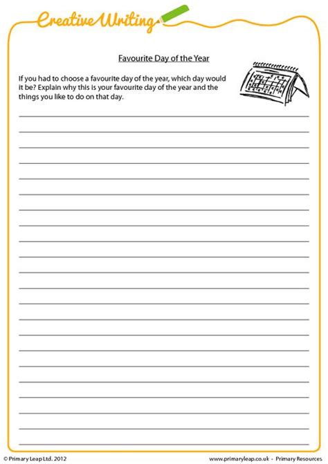 Creative Writing Worksheets For Grade 7 by Creative Writing Favourite Day Of The Year Primaryleap